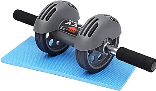 Ab Roller Wheel Exerciser Abdominal Trainer with Knee Pad Smart Brake Rebound Double Wheel Non-slip Handle Safe Stable for Home Gym Core Workouts