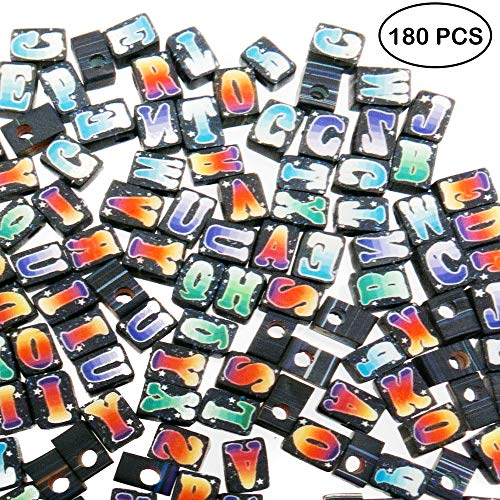 180 PCs Alphabet Letter A-Z Fimo Beads for Jewelry Making for Adults with 12 Yards Wax Cord - Great DIY Spacer Bead Kit for Bracelets, Necklaces, Pendant, Keychains, Crafts