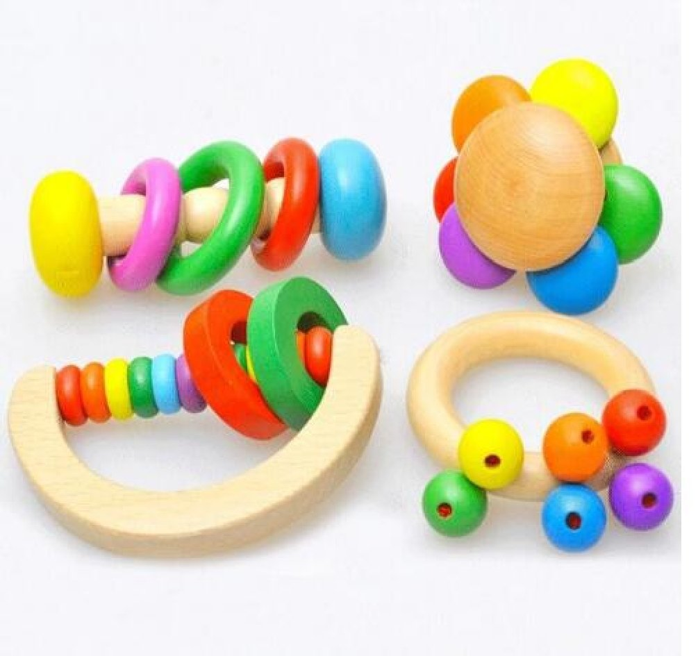 4PCS/set Wooden Bell Rattle Toy Baby Handbell Musical Educational Instrument Rattles For Toddlers Babies