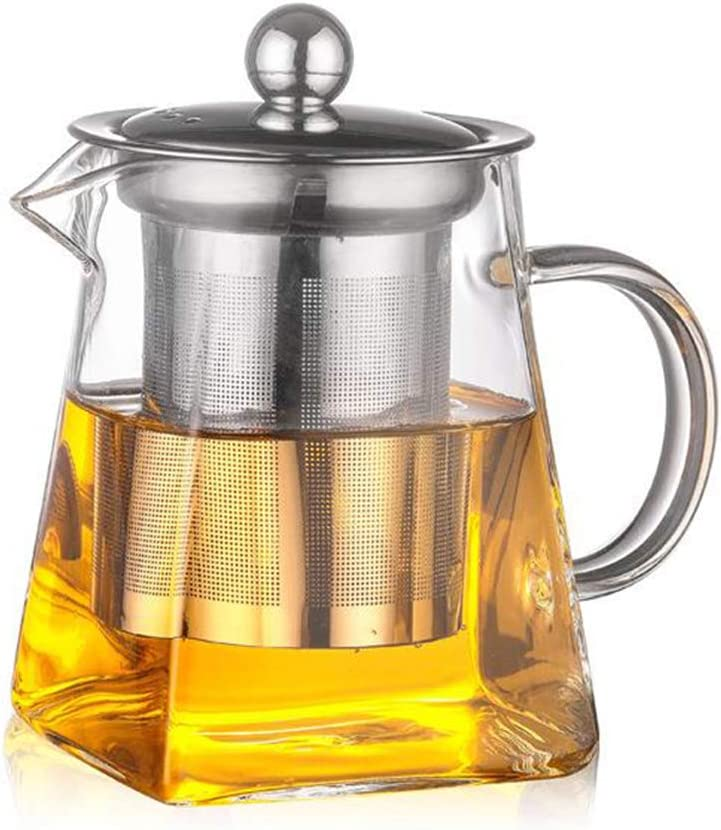 Square Glass Teapots, SUNNIOR 750 ml Clear Heat resistant GlassTea Pots - Stainless Steel Tea Infuser and Strainers Safe for Microwavable and Stovetop