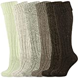 Mysocks Knee High Irish Jacob Sheep Wool Socks Made in Ireland 6 Pairs