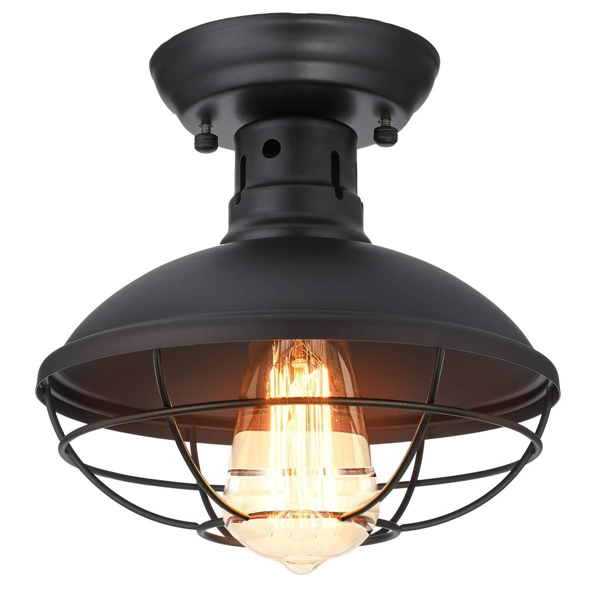 Kingso industrial metal cage ceiling light e26 rustic mini semi flush mounted pendant lighting dome bowl shaped lamp fixture farmhouse style for