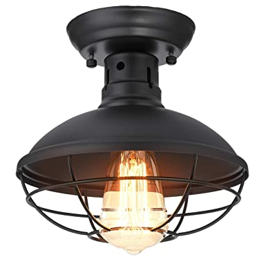 KingSo Industrial Metal Cage Ceiling Light, E26 Rustic Mini Semi Flush Mounted Pendant Lighting Dome Bowl Shaped Lamp Fixture Farmhouse Style for Foyer Kitchen Garage Porch Entryway