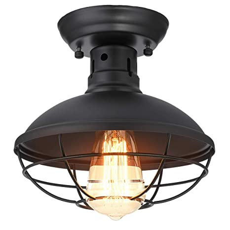 KingSo Industrial Metal Cage Ceiling Light, E26 Rustic Mini