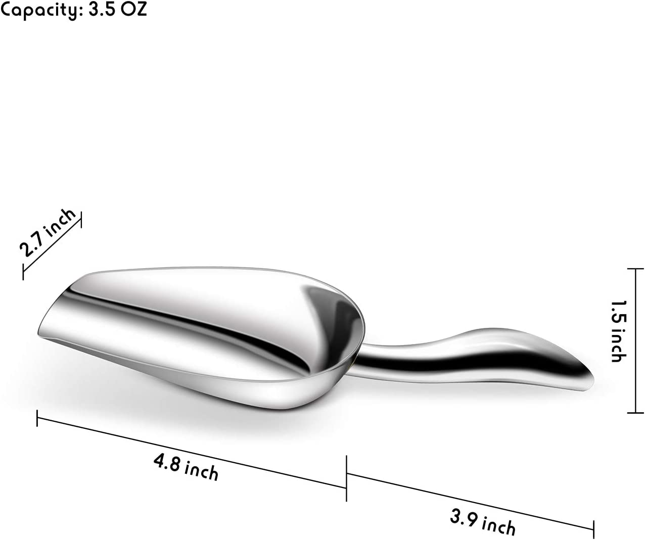 Soft Contours Heavy Duty 3.5 OZ Popcorn Candy Coffee Beans Scoop Mirror Finish Fortune Candy Ice Scoop Stainless Steel Ice Scooper Comfy Grip