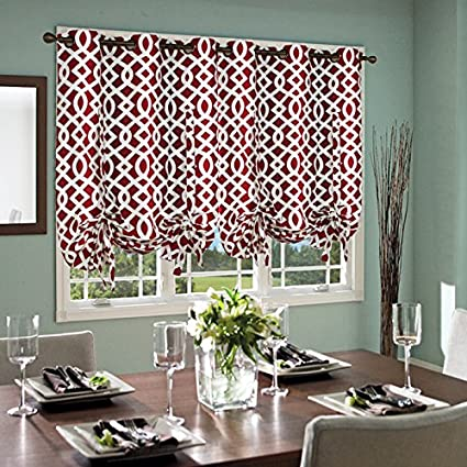 Thermalogic Trellis Cotton Curtains Tie Up Panel 40quot X 63quot Burgundy