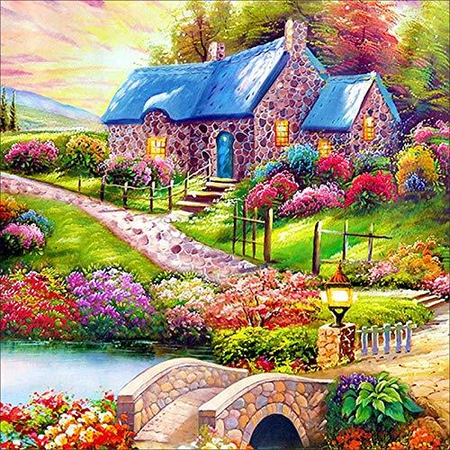 (5D Full Drill Diamond Painting Mitiy Kits Diamond Dotz Landscape House Village Arts Crafts Wall Decor)