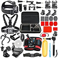SmilePowo 42-in-1 Accessory Kit for Gopro Hero7,6,5 Black, Hero5 Session,Gopro Fusion, Hero 4 Silver Black, Hero Session, GoPro Hero (2018) ?Accessory Bundle Set?Hero 3 2 1, SJ Cam Xiaomi