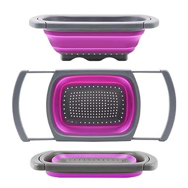 QiMH Collapsible Colander, Kitchen Colander Set Over Sink Strainer Veggies/Fruit Colanders Strainers with Extendable Handles, Dishwasher Safe Folding Strainer for Kitchen, 6-Quart, BPA Free (Purple)