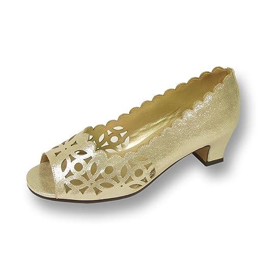 FIC Floral Irene Women Wide Width Metallic Fabric Gold Pump 6