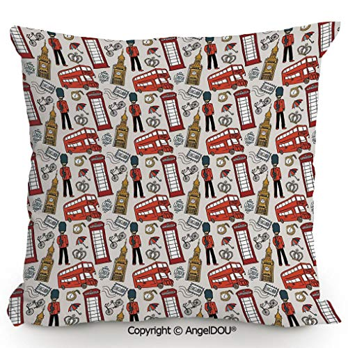(AngelDOU Pillow Cotton Linen Cushion,Doodle English Icons Crown London Cab Telephone Booth Watch Big Ben Umbrella Bicycle Decorative,Coffee Shop Restaurant Sofa compan23.6x23.6 inches)