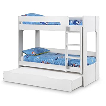 Bunk Bed With Trundle Guest Bed Happy Beds Ellie White Wood Modern