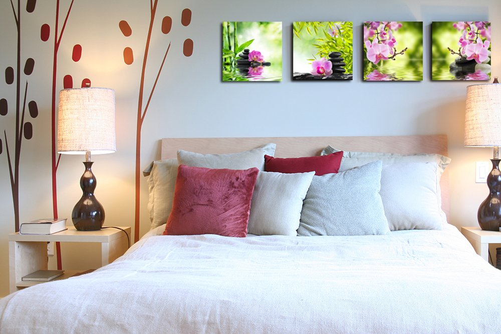 Hello Artwork – Nature Butterfly Orchid Flower and Zen Stones Painting Wall Art Bamboo Picture Print on Canvas Modern Art for Wall Decor and Home Decoration Wall Art 4pcs set 12 x12 x4pcs