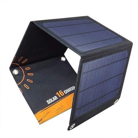 WZHESS Cargador Solar Plegable, batería Dual del Panel Solar ...