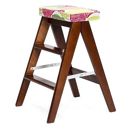 WSSF- Taburete de escalera de madera maciza plegable Simple ...