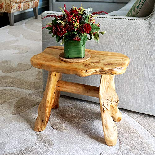 WELLAND Natural Wood Indoor/Outdoor Stool Cedar Garden Bench from WELLAND