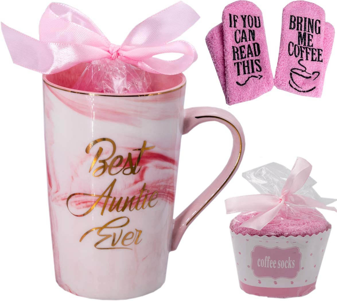 Mugpie Aunt Gifts from Niece Nephew BAE Gifts Best Auntie Ever Coffee Mug - Novelty Birthday Gifts Christmas Presents for Aunt - Cool 12.5oz Mug + Novelty Socks If You Can Read This,Bring Me Coffee