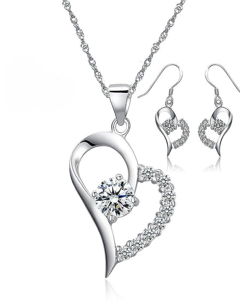 Conjunto de Pendientes y Collar con Colgante Corazón Abierto Asimétrico Mitad Circonia Cúbica - De Plata de Ley - Regalo Perfecto Para Mujer Forfamilyltd N11166