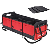 AUTOARK Multipurpose Car SUV Trunk Organizer,Durable Collapsible Adjustable Compartments Cargo Storage,Red,AK-085