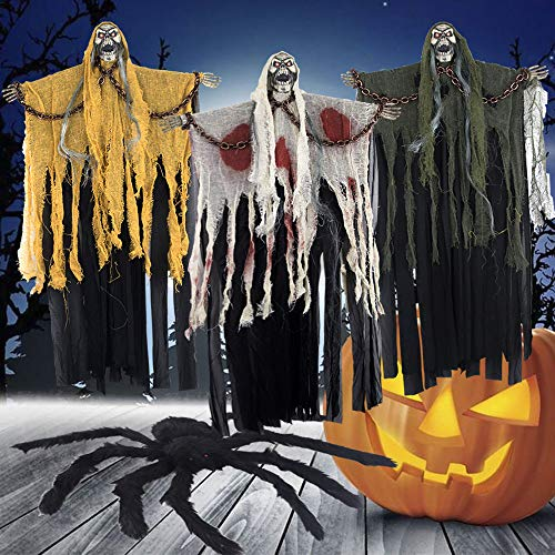 HOLICOLOR 2Pack Halloween Hanging Ghost and Spider Decoration Set - 1 Pack 23.5 40 Halloween Chained Skull Ghost Decorated with Glowing Eyes (Random Color) and 1Pack 19.5 Halloween Spider (Black)