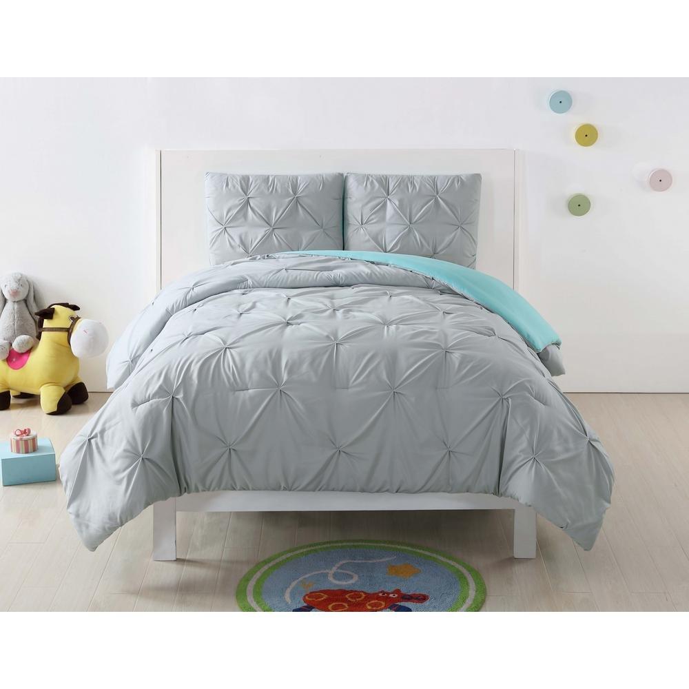 Laura Hart Kids Pinch Pleat Solid 3-Piece Comforter Set, Silver Grey / Turquoise (Full / Queen)