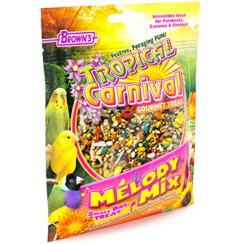 F.M. Brown'S Tropical Carnival Melody Mix Small Bird Foraging Treat, 5-Oz Bag - Fruits, Veggies, Grains, Seeds, And Herbs For Parakeets, Canaries, And Finches ()