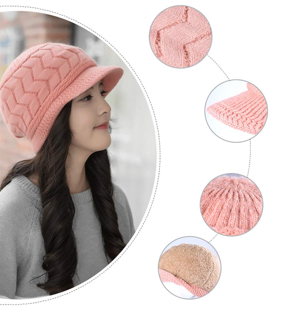 Mode Femme Bonnet Tricot/é Hiver Chaud Baggy Chapeau Tress/ée Ceinture Bouton D/écorative Casquette Ski Chapeau par SamGreatWorld