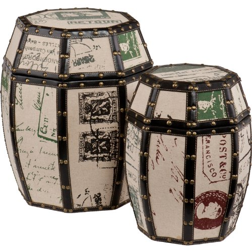 Vintage Paris Postcard 2pc Storage Drum Set