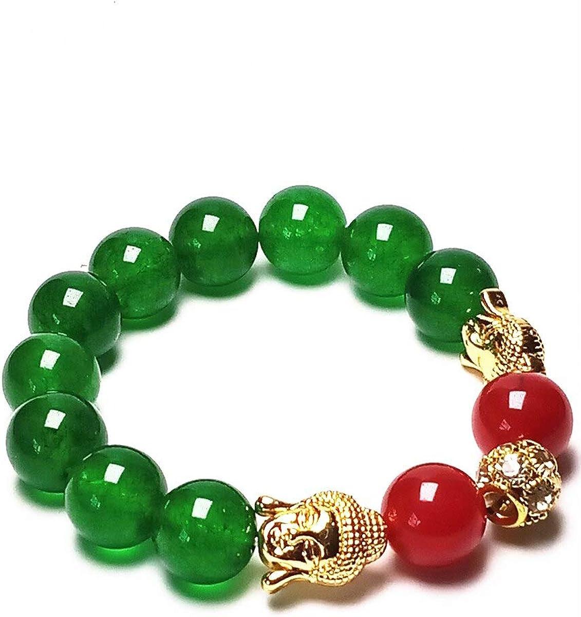 yigedan - Pulsera elástica de Cuentas de 12 mm de Color Verde Jade Dorado con Piedras Preciosas Redondas de Buda Sakyamuni