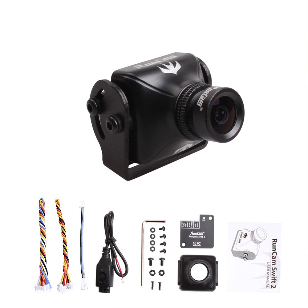 RunCam Swift 2 600TVL FPV Camera 2.5mm Lens Integrated OSD DC 5-36V Support Audio (Black) by RunCam