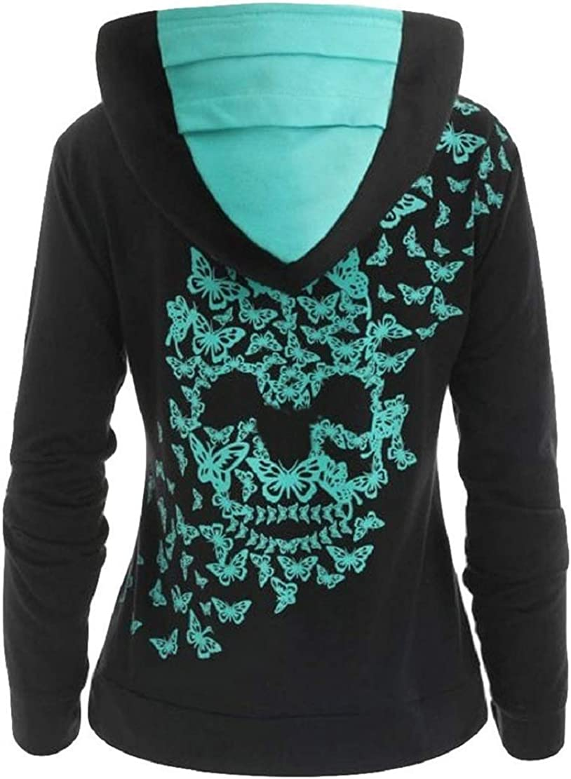 Womens Fashion Butterfly Skull Print Sweatshirt Long Sleeves Hoodie Tops T-Shirt Blouse with Pockets Sopzxclim
