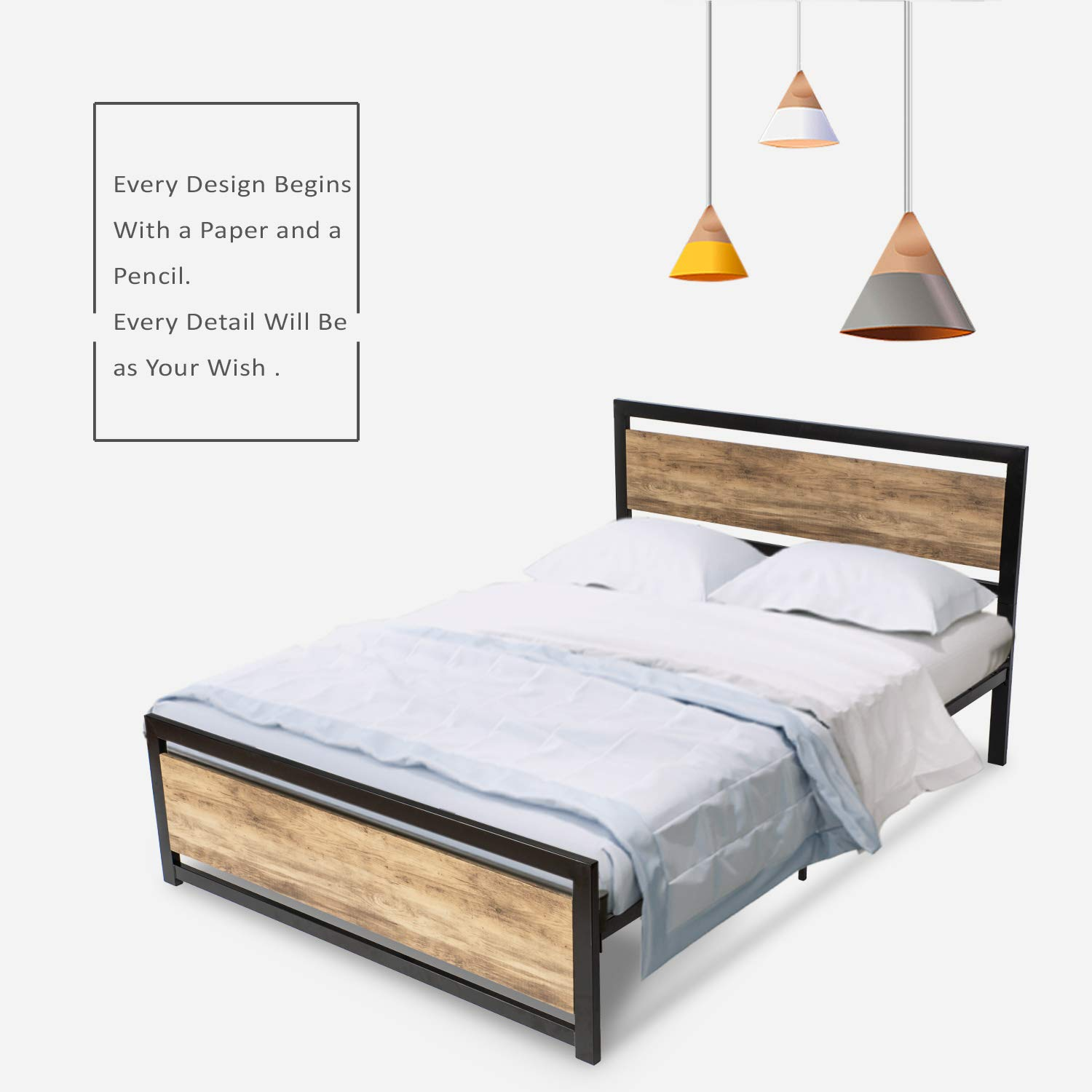 Urest Full Size Bed Frame with Headboard Platform Metal Bed Frame with Footboard Strong Slat Support No Box Spring Needed