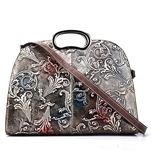 - Crystalzhong The First Layer Of Leather Lady Bag Hand-colored Diagonal Handbag Embossed Fashion Tote Bag (Color : Silver)