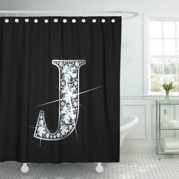 Semtomn 66 X72 Shower Curtain Bling Stunning Beautiful J In Diamonds And Silver Raster Sparkle Decorative Waterproof Bathroom Curtains Eco Friendly Hook Set Home Kitchen Amazon Com