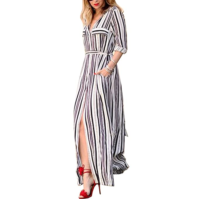 77f40ea0f2791 oboss Women's Dress in Belted Shirt Cut Striped Long Maxi with Buttons ...