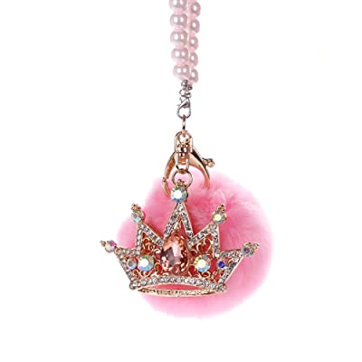 MINI-FACTORY Car Mirror Hanging Accessories, Rearview Mirror Hanging Bling Decoration Fluffy Luxury Diamond Crown with Pearl Chain - Pink: Automotive