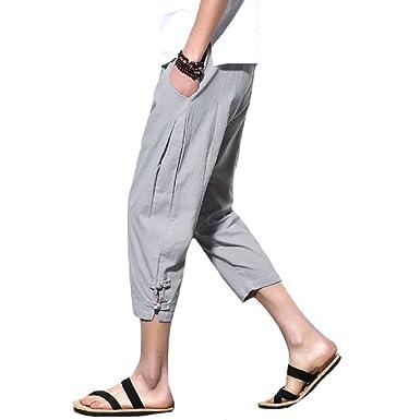 3024f7d9883 Comfy-Men Linen Solid-Colored 3 4 Casual Weekend Summer Linen Fashion Cotton