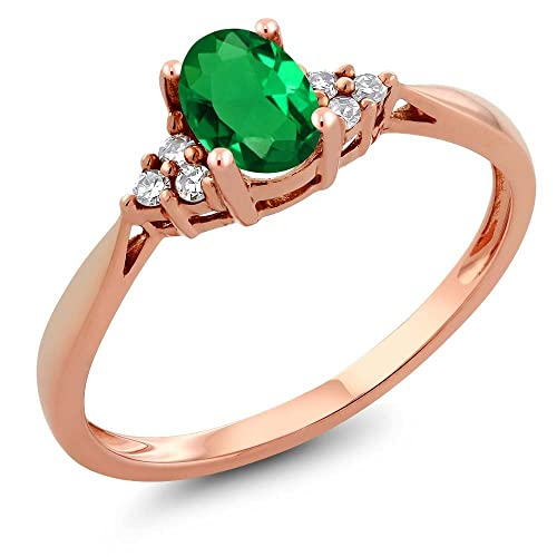 Gem Stone King 14K Rose Gold Green Nano-Emerald and Diamond Women s Ring 0.46 cttw Available 5,6,7,8,9