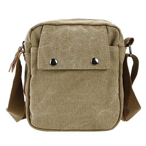 brown Shoulder Handbag Men Business Domybest Leisure Multi Small Messenger Bags Khaki function Canvas w4RPpq