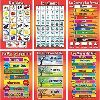 Set of Basic Spanish Posters #1 (Set of 6)