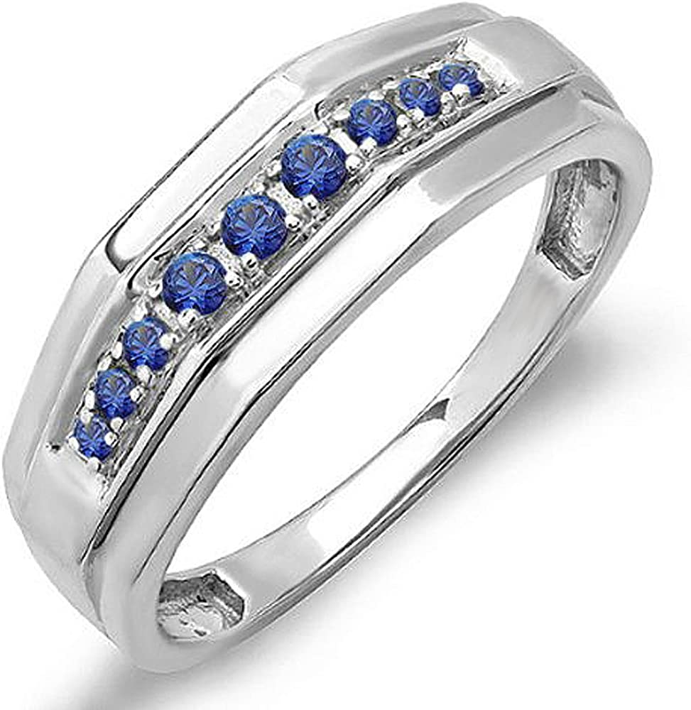 Dazzlingrock Collection 0.25 Carat (ctw) Round Blue Sapphire Men's Wedding Anniversary Band 1/4 CT, Sterling Silver