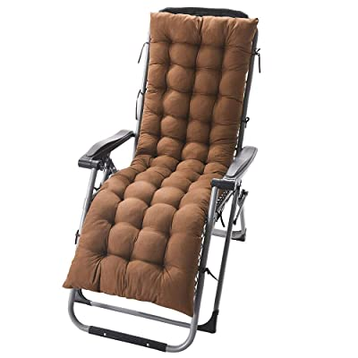 "DN_HOM Awesome Deck Chair Cushion Lounge Tufted Chaise Padding Outdoor Indoor Recliner 61"" x 19"" (Coffee) : Garden & Outdoor"