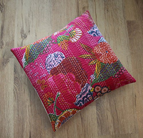 Beautiful piece Boho-chic/Bohemian Hand embroidered cushion/pillow cover Kantha stitch 16x16 inches. Cotton, Indian handmade, Home decor