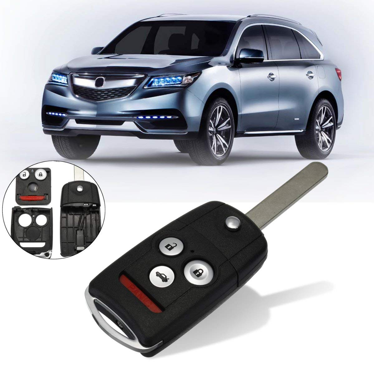 Autoleader #KK-2620 3+1 Buttons Remote Flip Car Key Fob Shell Case w/Uncut Blade For Honda/Accord/Acura TL TSX MDX RDX ZDX 2007 2008 2009 HITSAN INCORPORATION ATM-0960