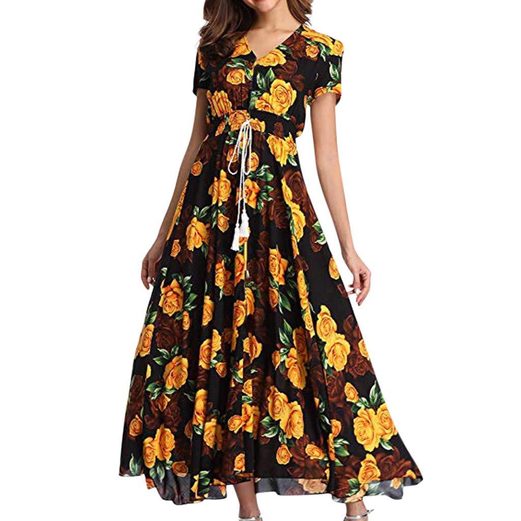 Nmch Women's Floral Print Short Sleeve Elastic Maxi Dresses Boho Button Up Split Lace-Up Tassel Beach Party Dress(Yellow,XXL)