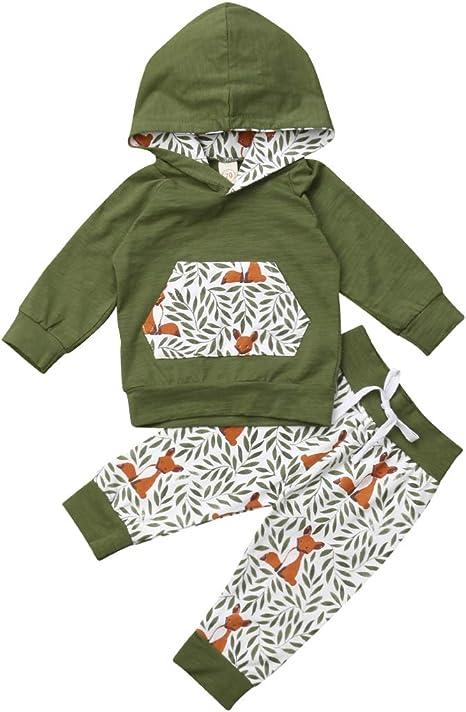 2 piezas pantalones T TALENTBABY Sudadera con capucha y manga larga para ni/ños peque/ños