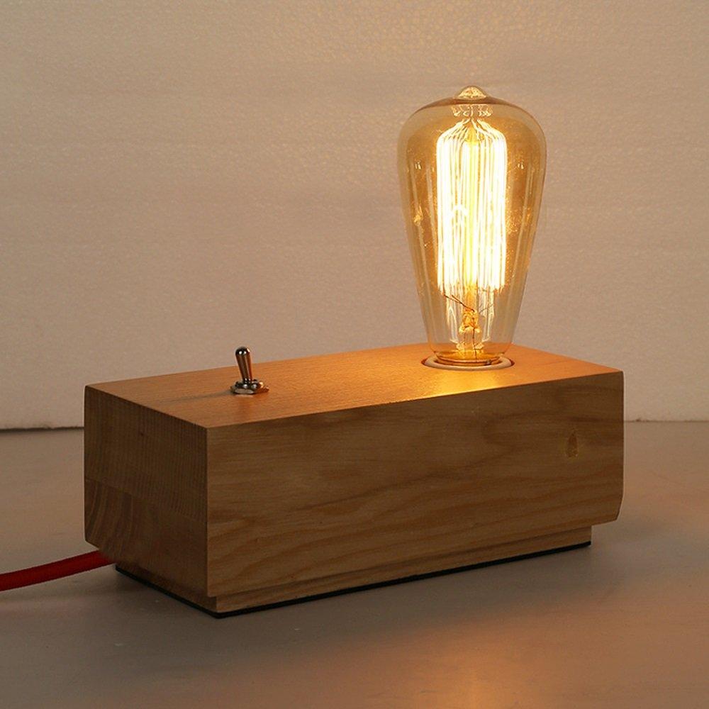 Amerikanischen Holztisch Lampen, Vintage Einfache LED Dekoration Lesen Nachttischlampe Holz Schreibtisch Licht Moderne Schlafzimmer Wohnzimmer Schlafsaal Tischlampe