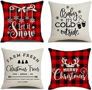 "KACOPOL Christmas Decorations Pillow Covers Red Black Buffalo Check Plaid Christmas Quotes Farmhouse Decor Cotton Linen Throw Pillow Case Cushion Cover 18"" x 18"" Xmas Gifts (Buffalo Plaid Xmas Quotes)"