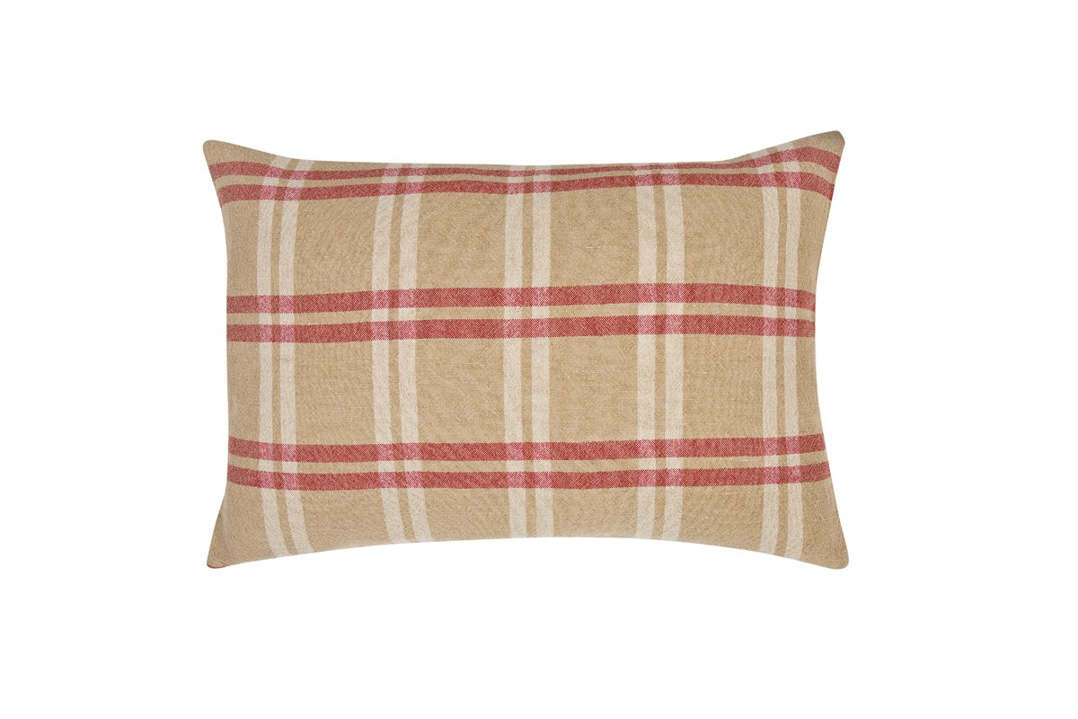 Xia Home Fashions Linen Check Decorative Feather/Down Filled Pillow, 16 by 24'', Natural