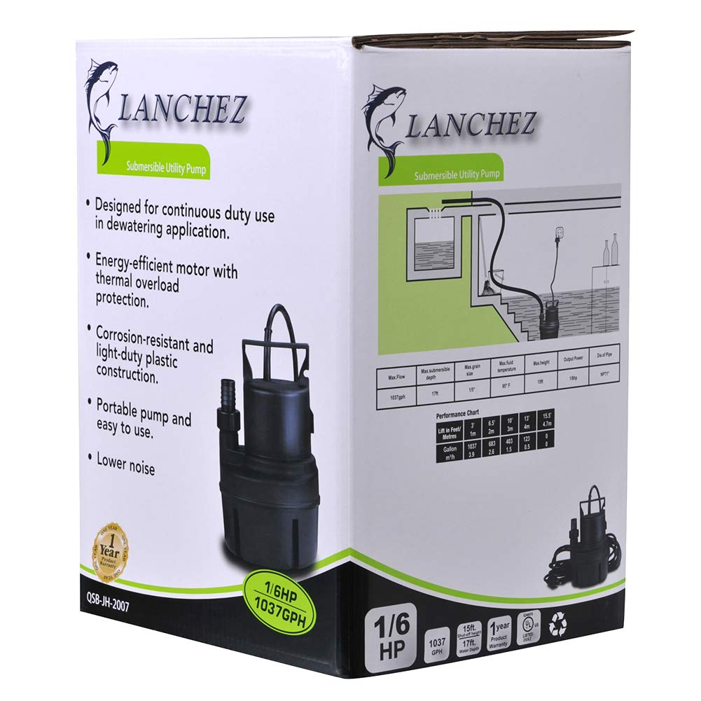 Lanchez Q2007 1/6 HP Submersible Utility Pump Multi-Purpose Electric Water Transfer Pump with 25ft Power Cord for Clean Water by LANCHEZ (Image #7)
